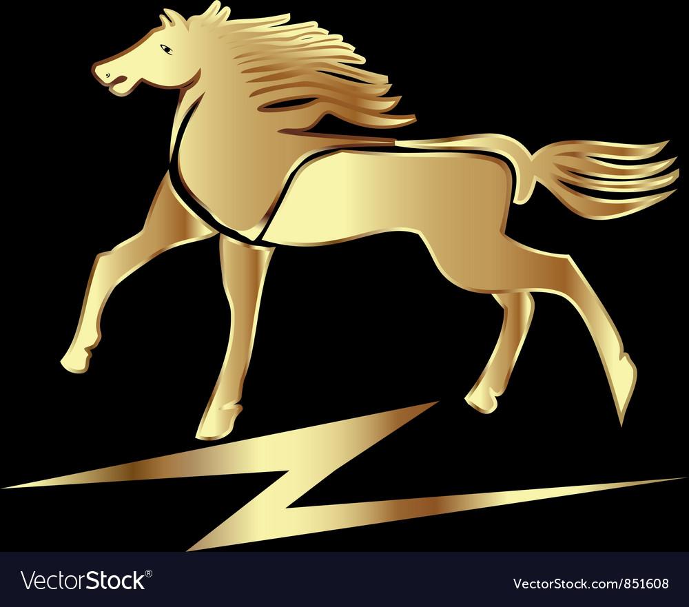 Gold horse stallion vector
