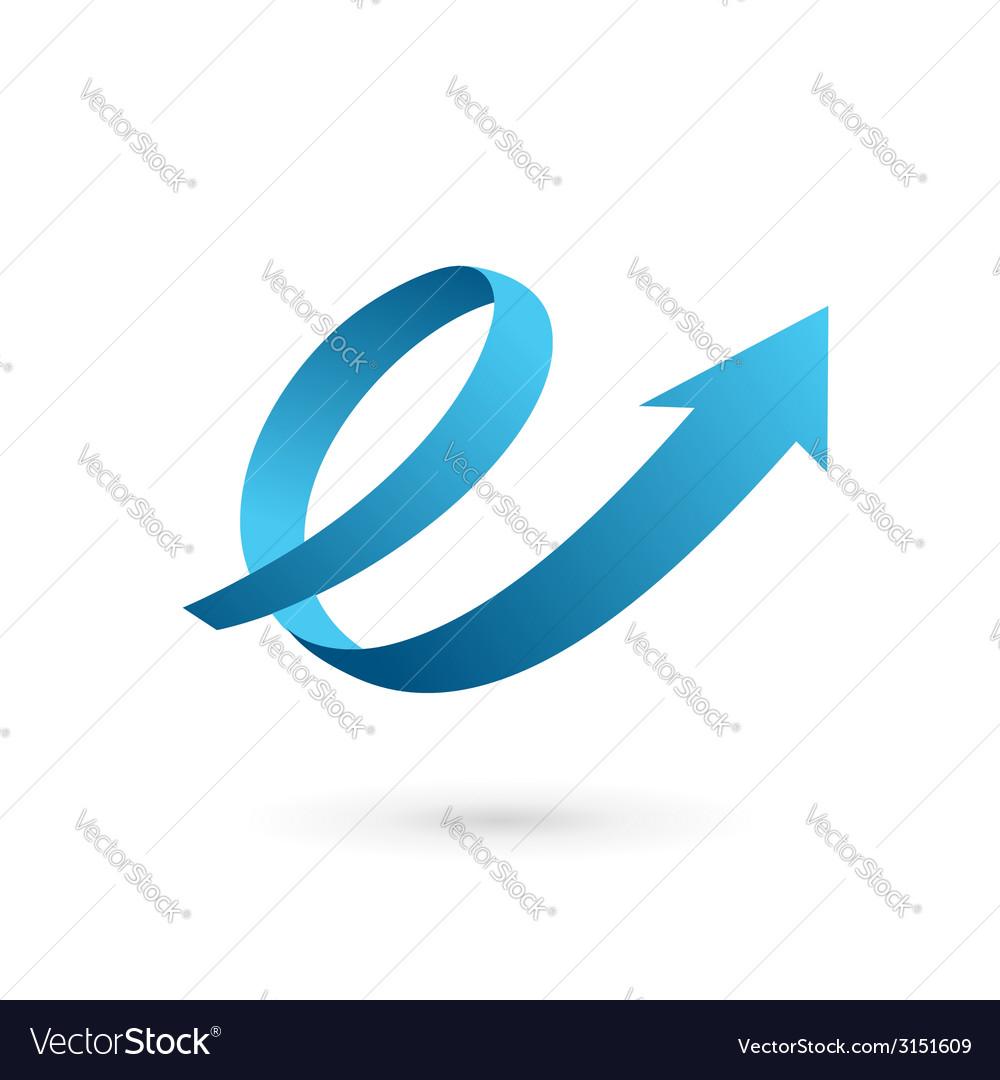 Letter e arrow loop logo icon vector