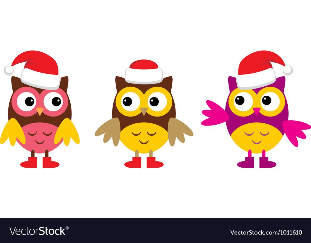 Owl in christmas hats vector