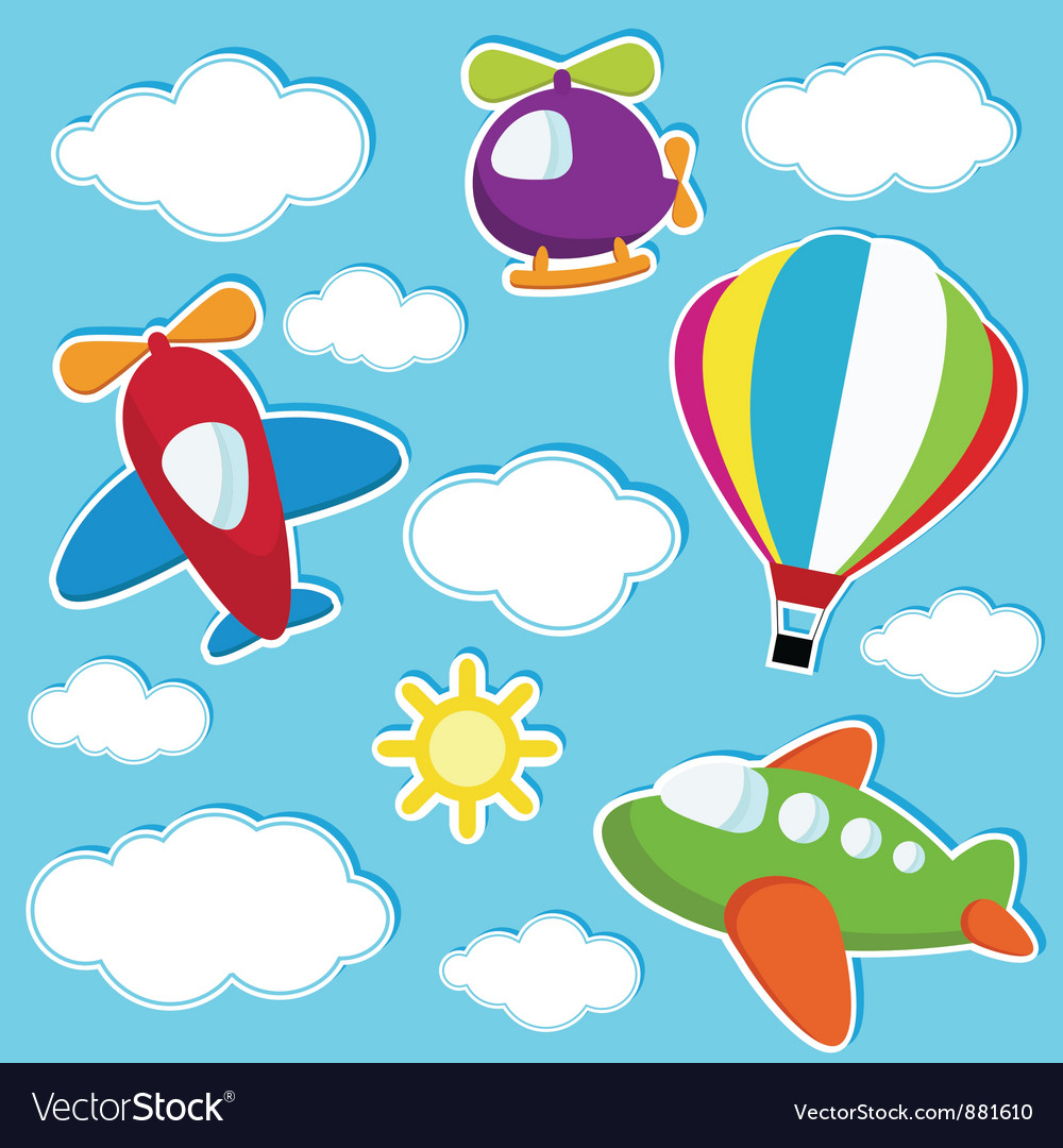 Sky with air transport stickers vector