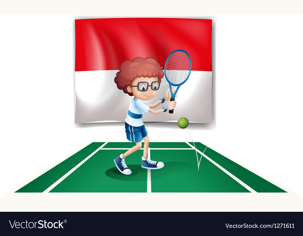 The flag of indonesia at the back of a tennis vector