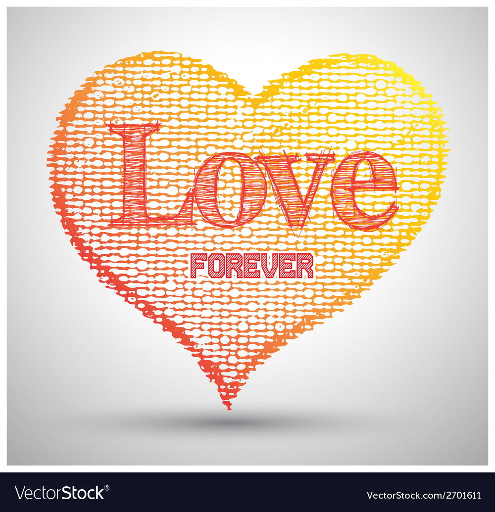 Heart love forever texture canvas paper vector