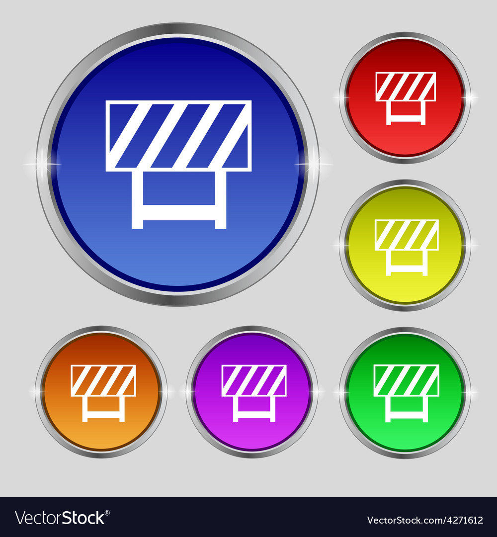 Road barrier icon sign round symbol on bright vector
