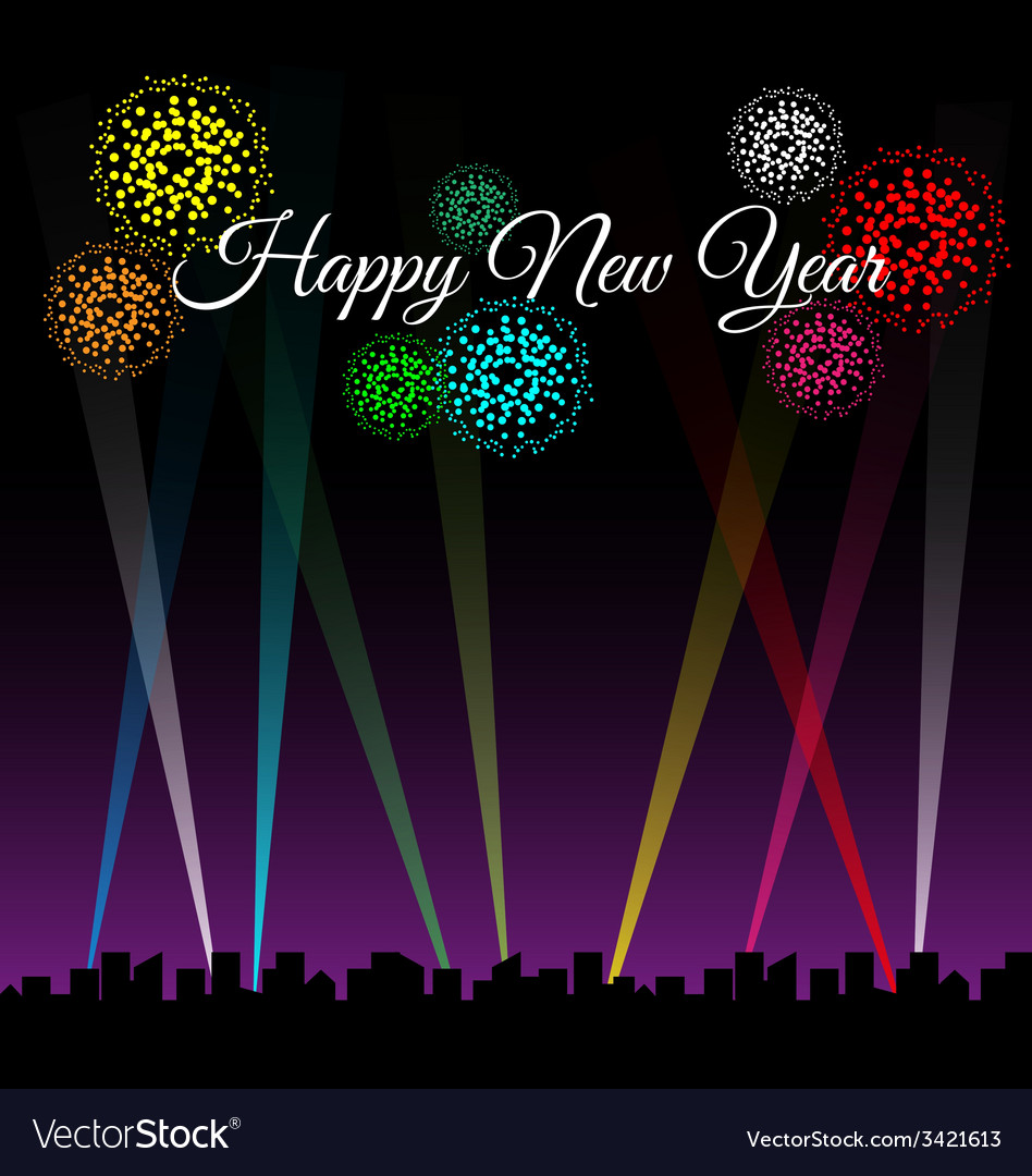 Happy new year text on city night with spotlights vector