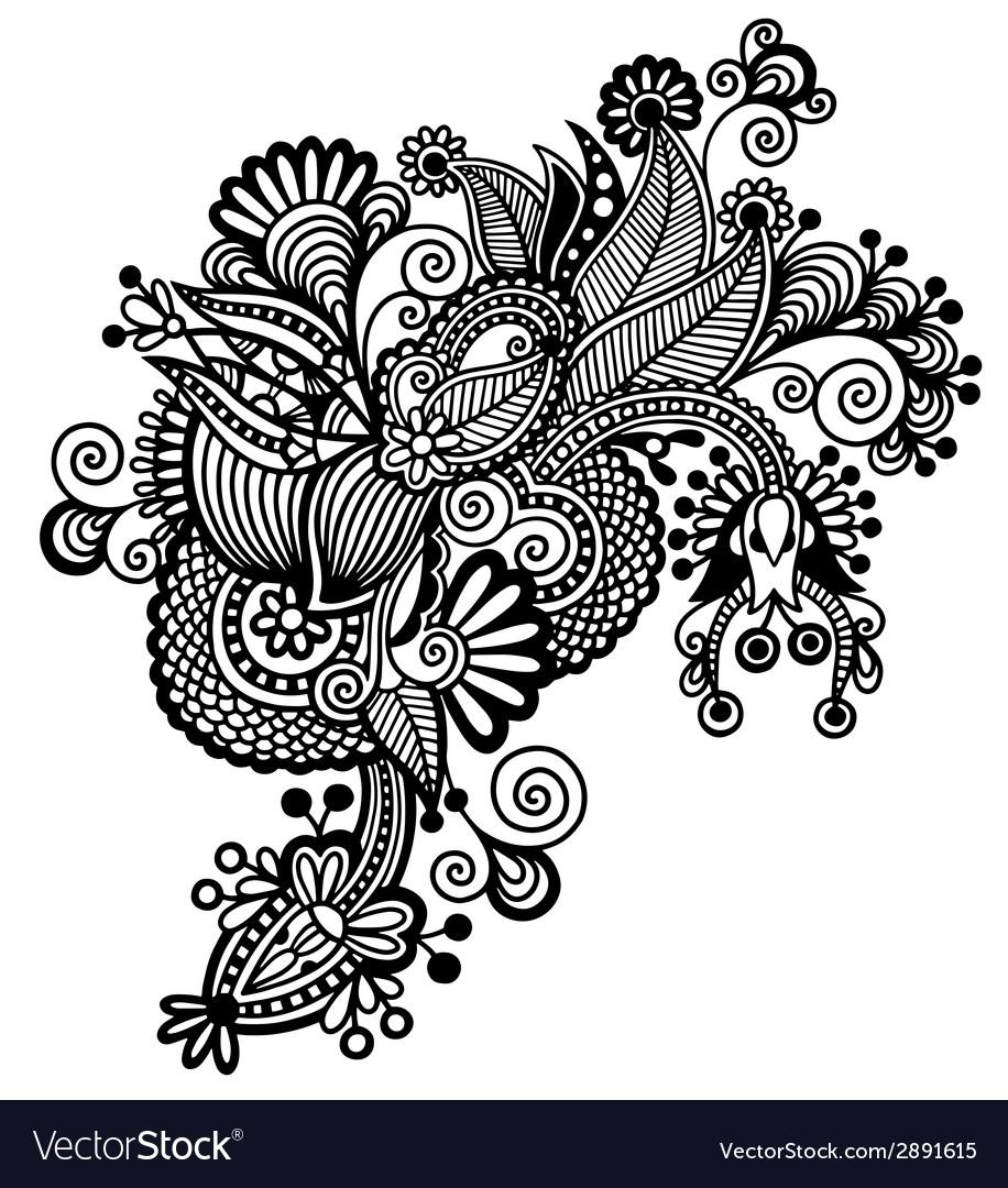 Black ornamental floral adornment vector
