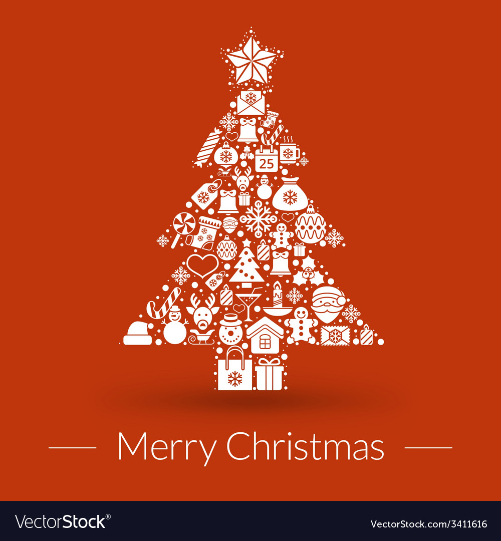 Christmas greeting card icons and symbols vector