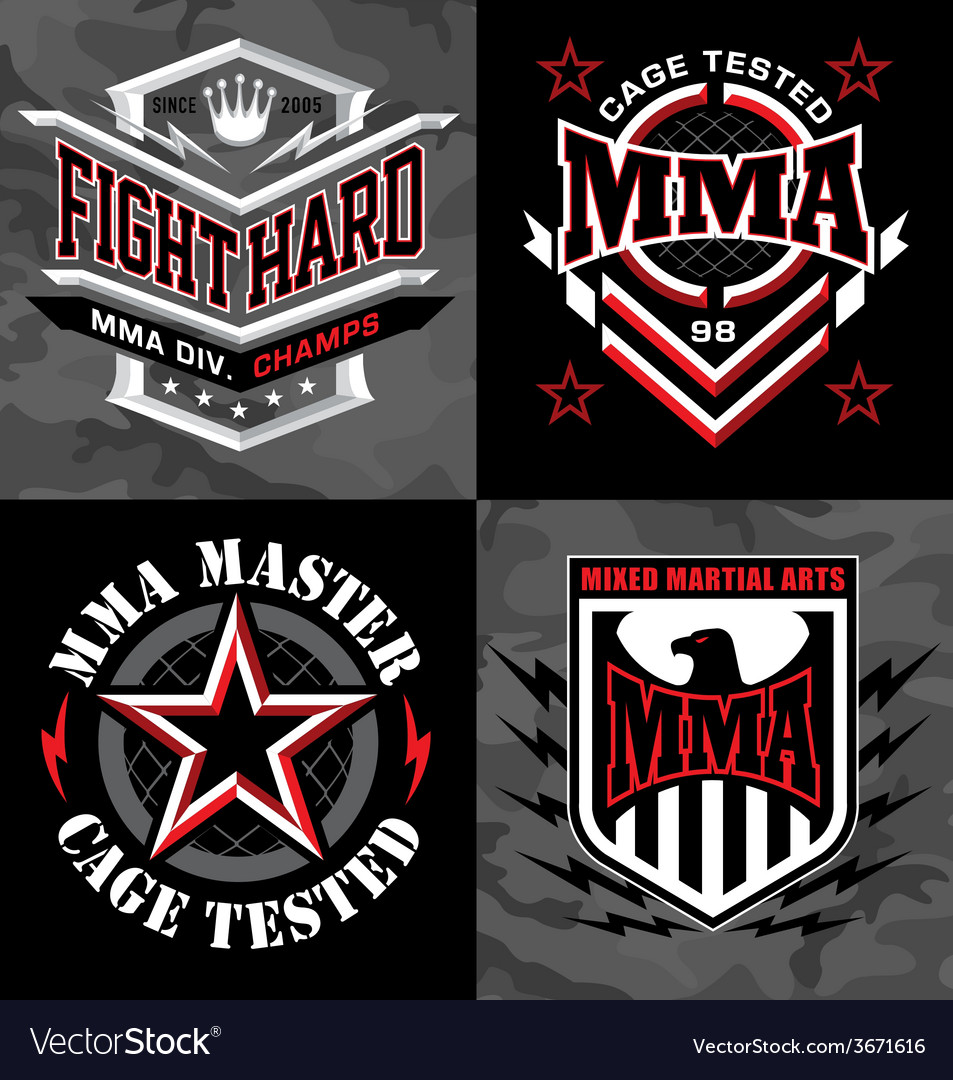Mma mixed martial arts emblem badges vector