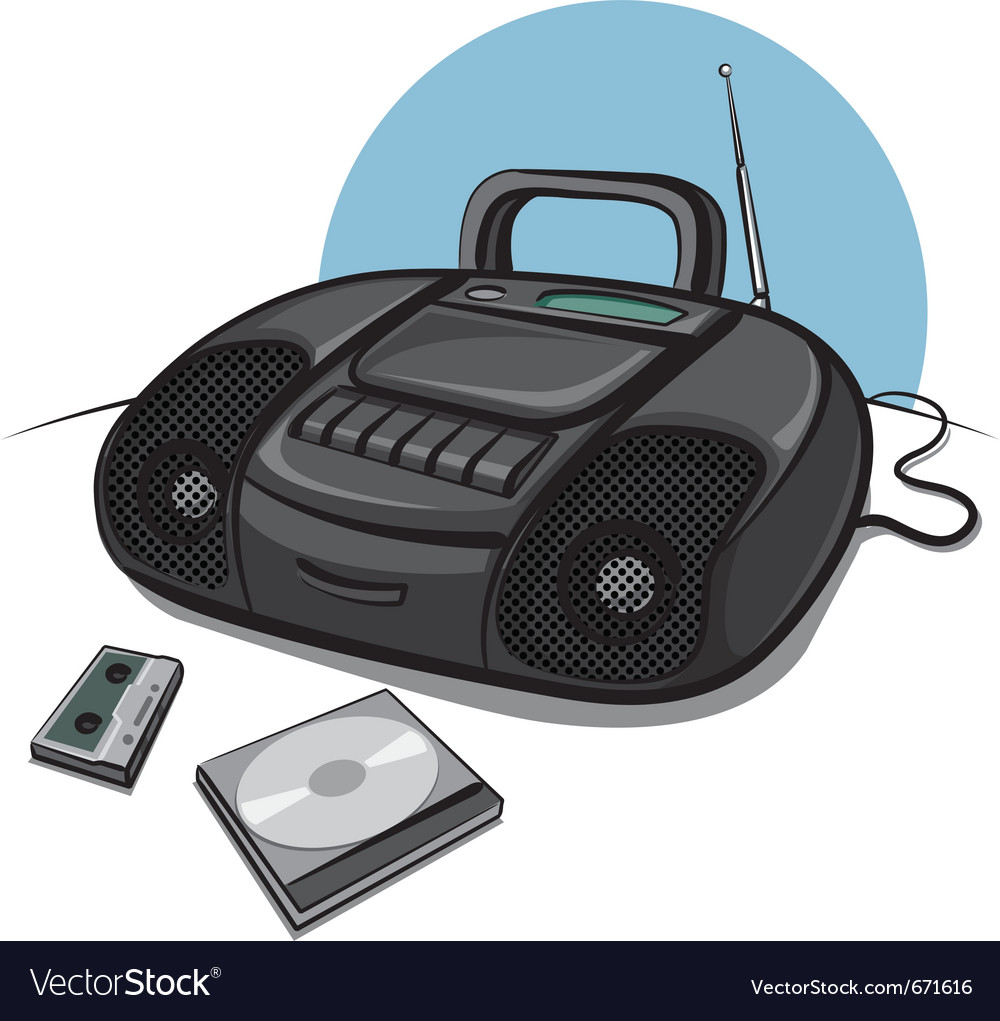 Portable tape recorder with cd player vector
