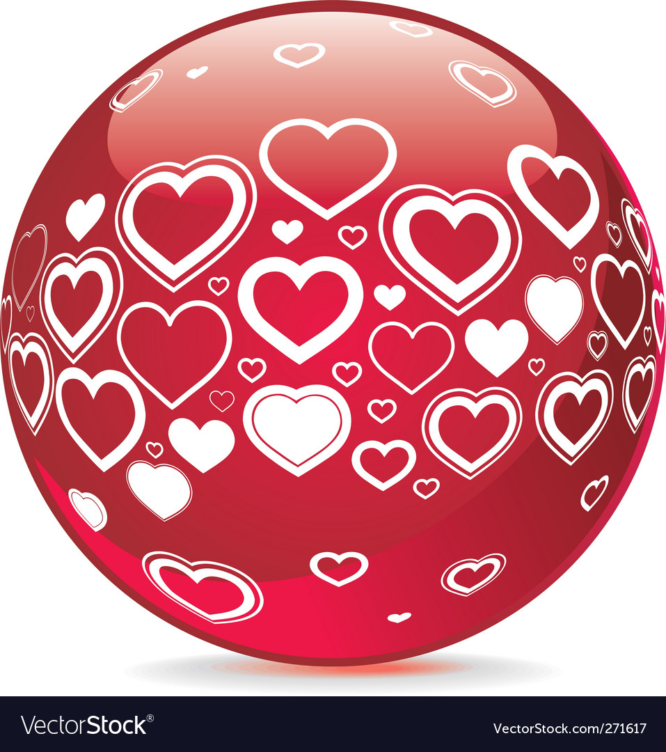 Sphere with heart shape symbols vector