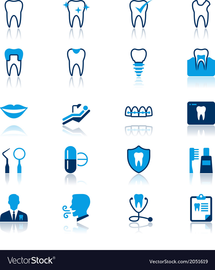 Dental flat with reflection icons vector