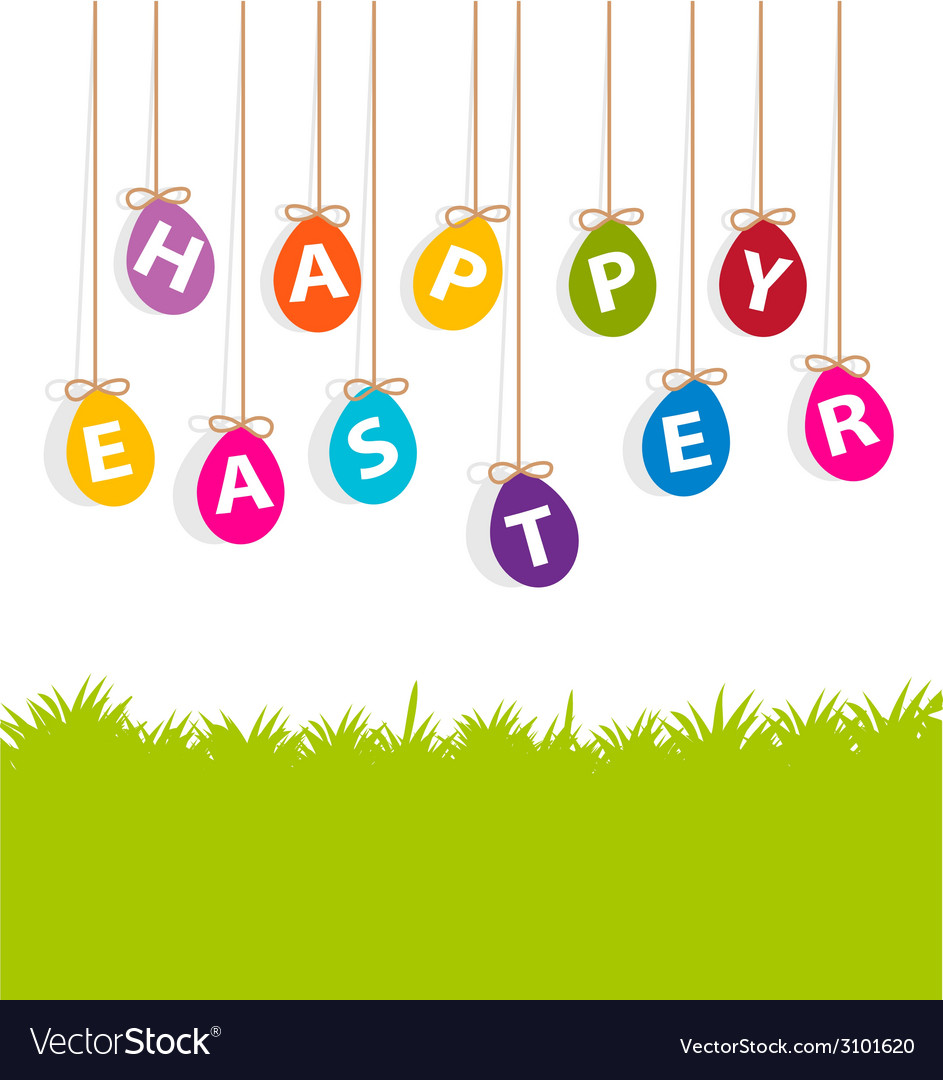 Colored hanging eggs easter card vector