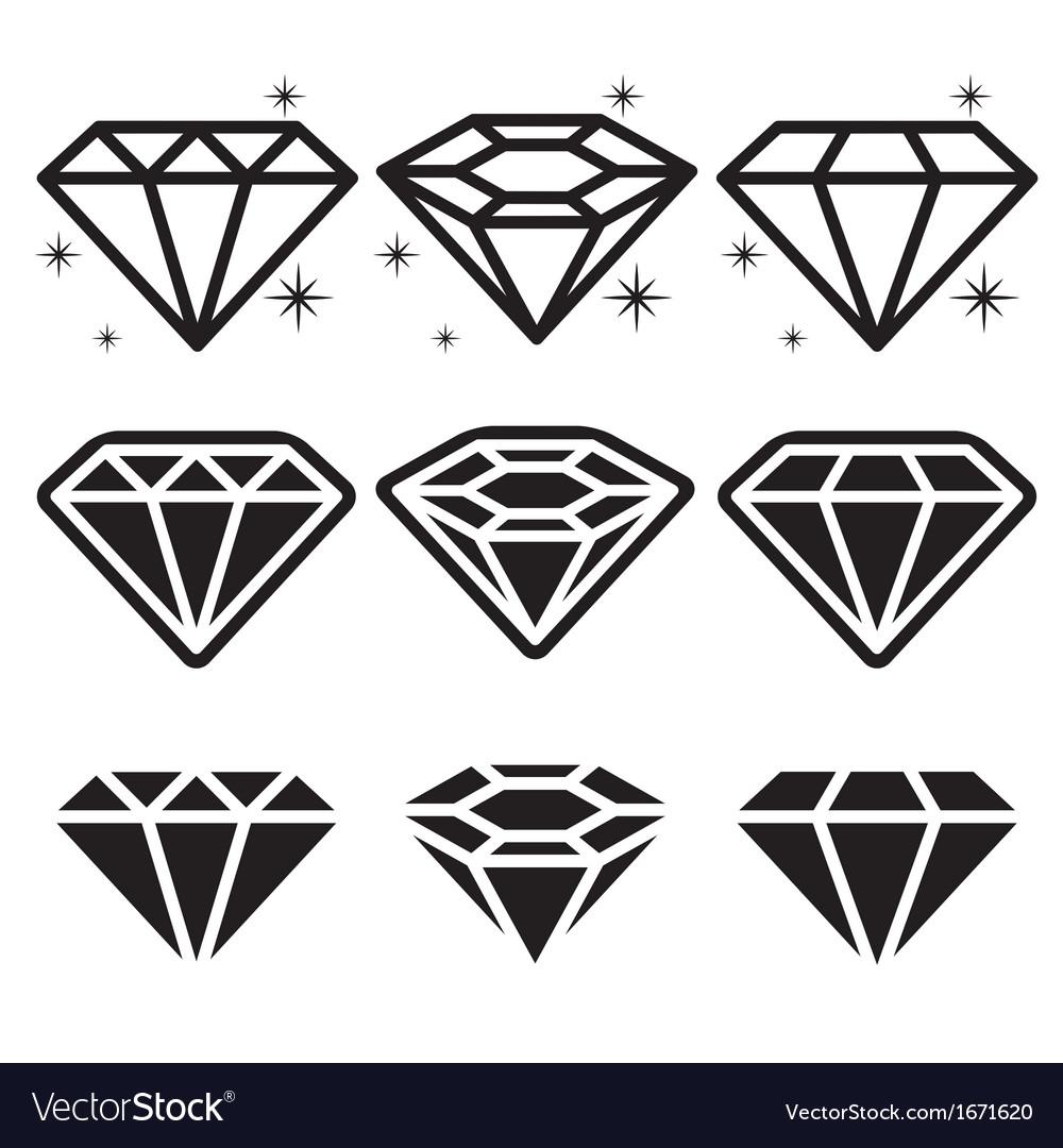 Diamond icons set vector