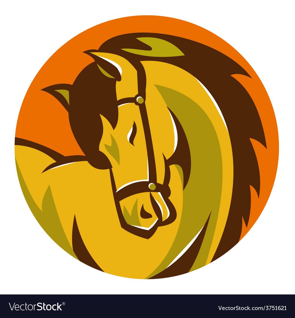 Horse stallion head retro vector