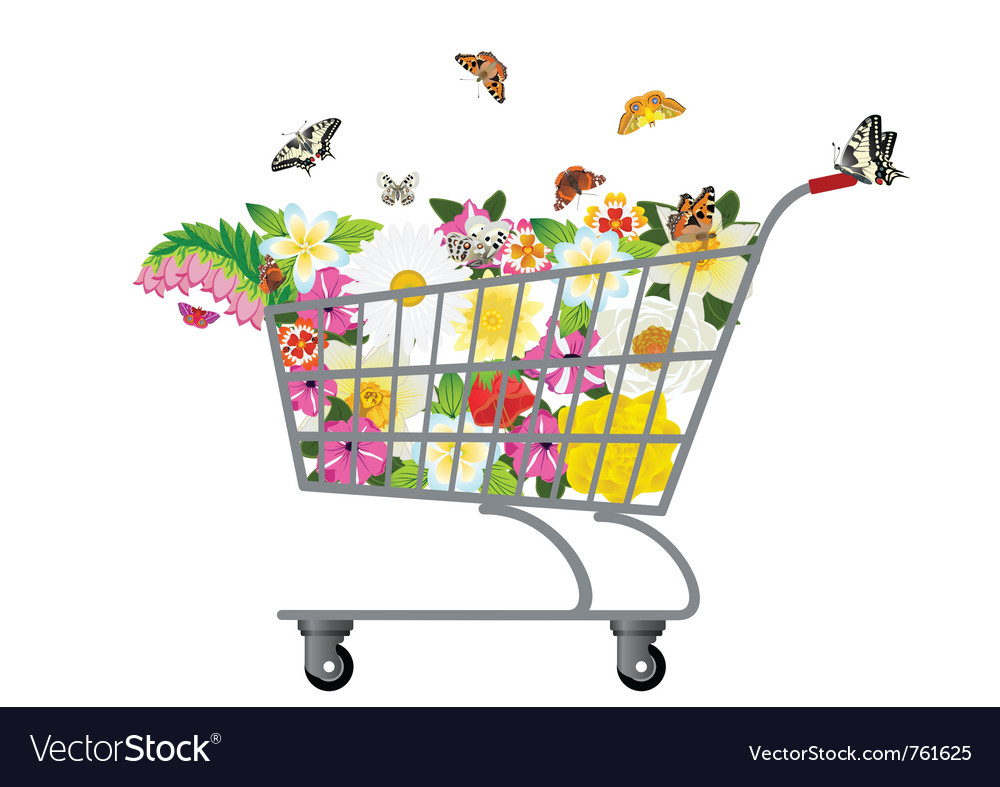 Grocery cart with flowers vector