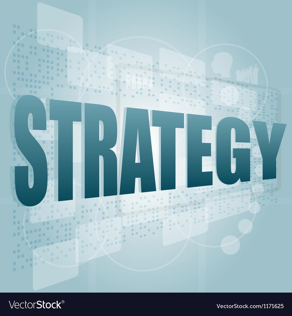 Word strategy on digital screen vector