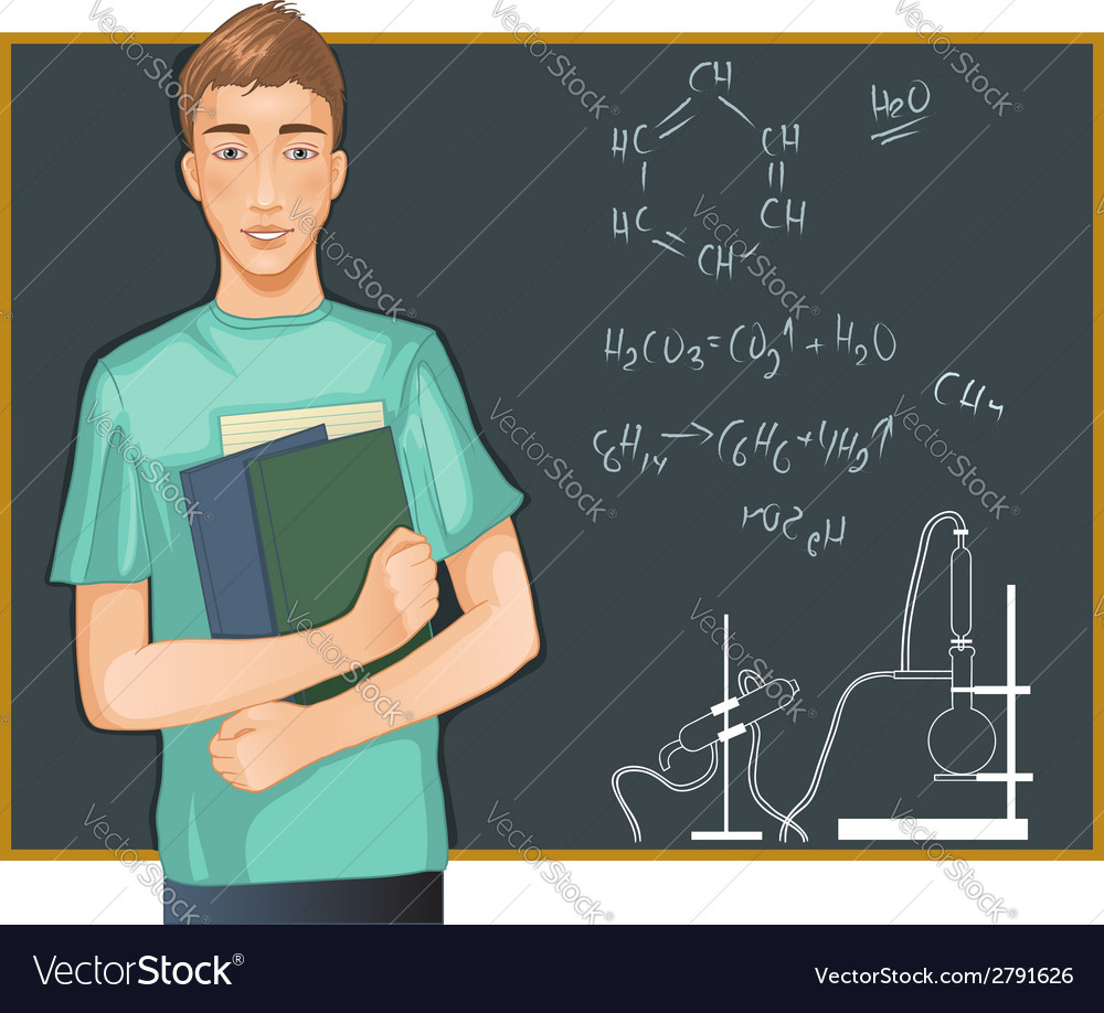 Student at blackboard vector