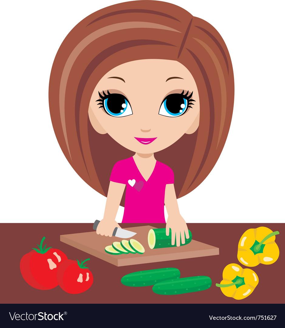 Kitchen cuts vegetables vector