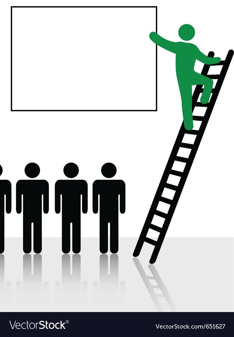 Person climbs a ladder vector