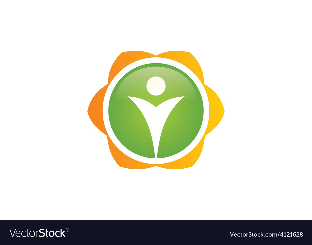 People flower ecology logo vector