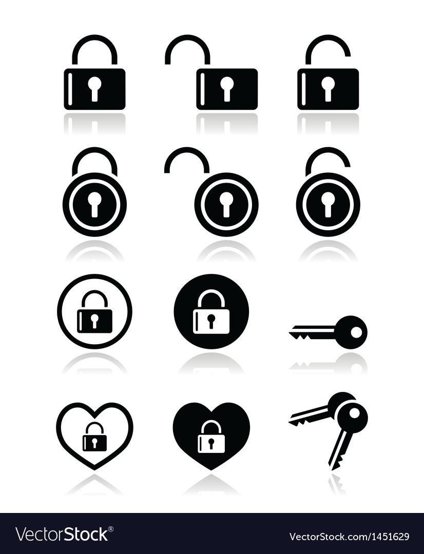 Padlock key icons set vector