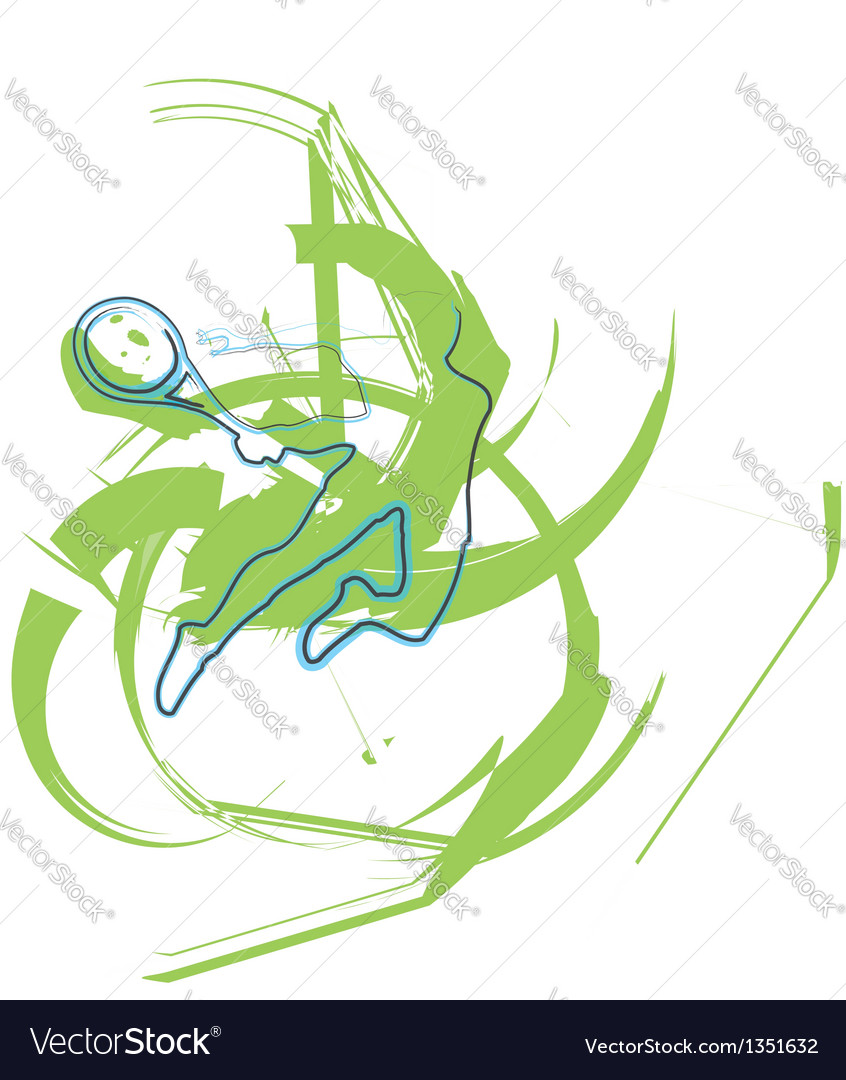 Sketch of man playing tennis vector