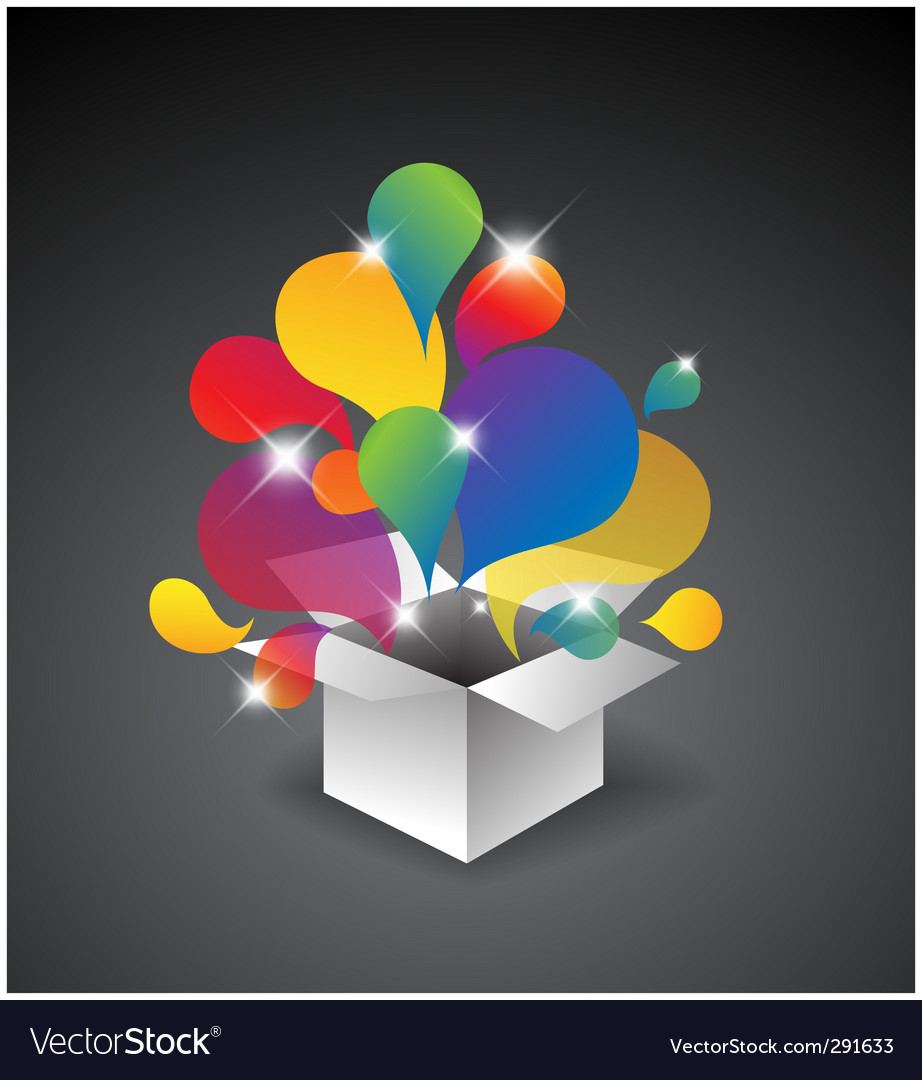 Gift box of balloons vector