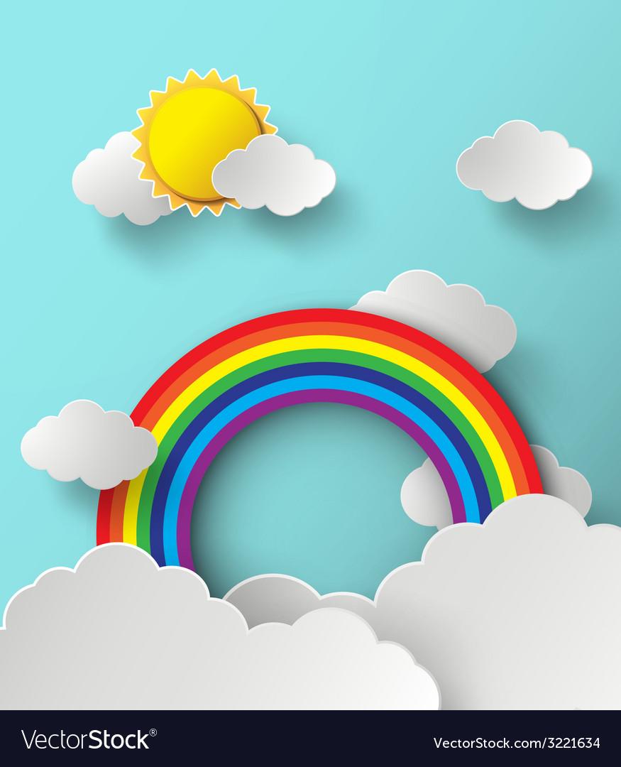 Rainbow on cloud vector