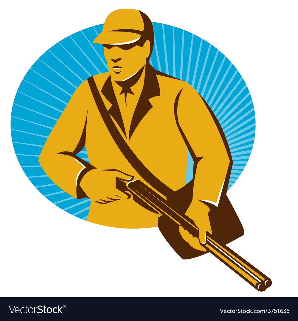 Hunter hunting with shotgun rifle retro vector
