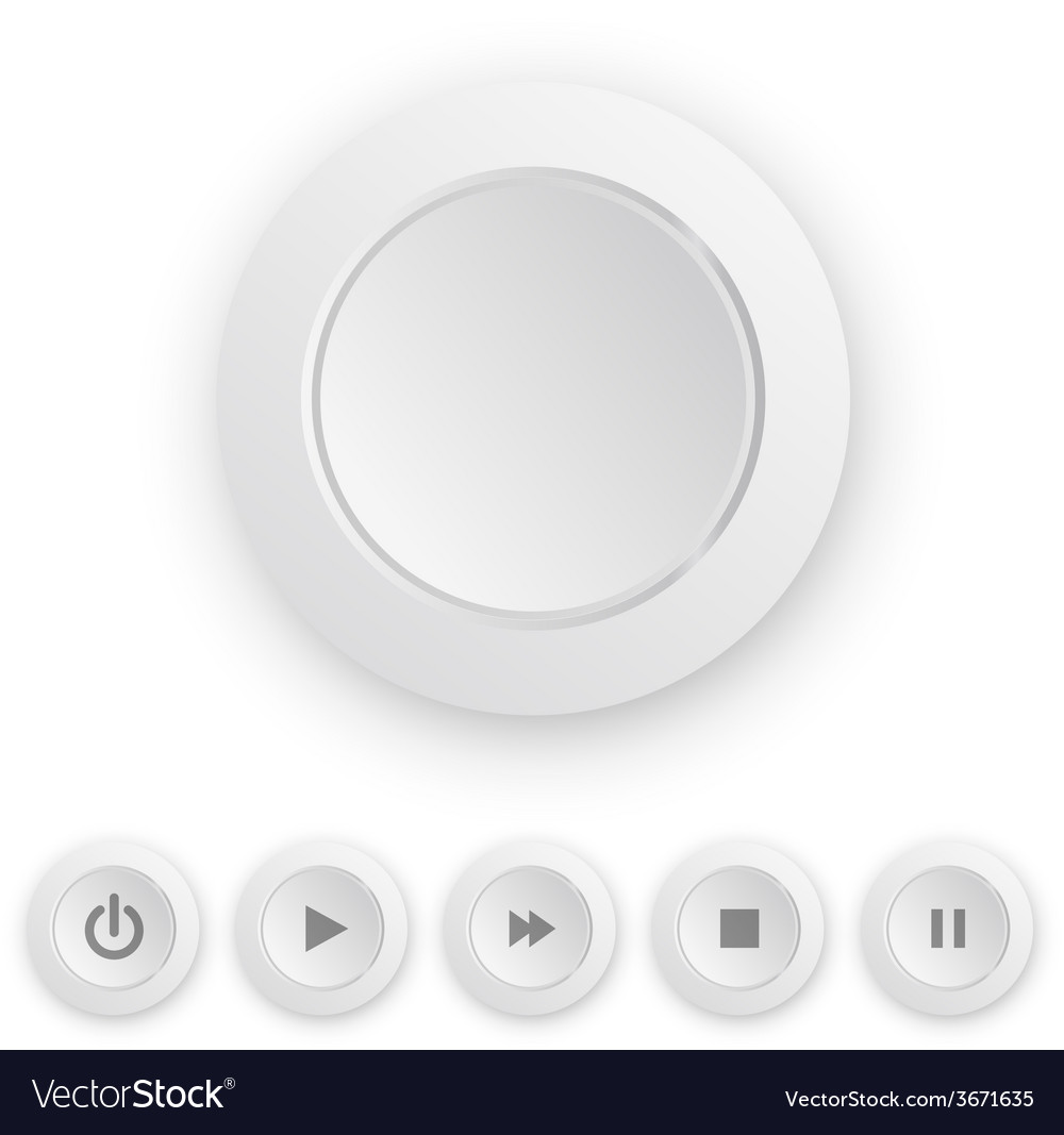 Media player white push button vector