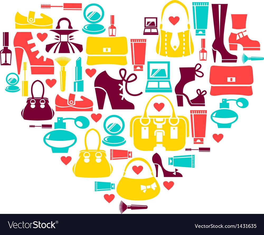 Shopping heart vector