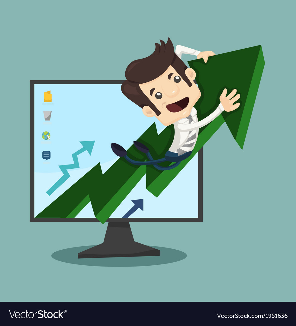 Businessman rising arrow with growing vector