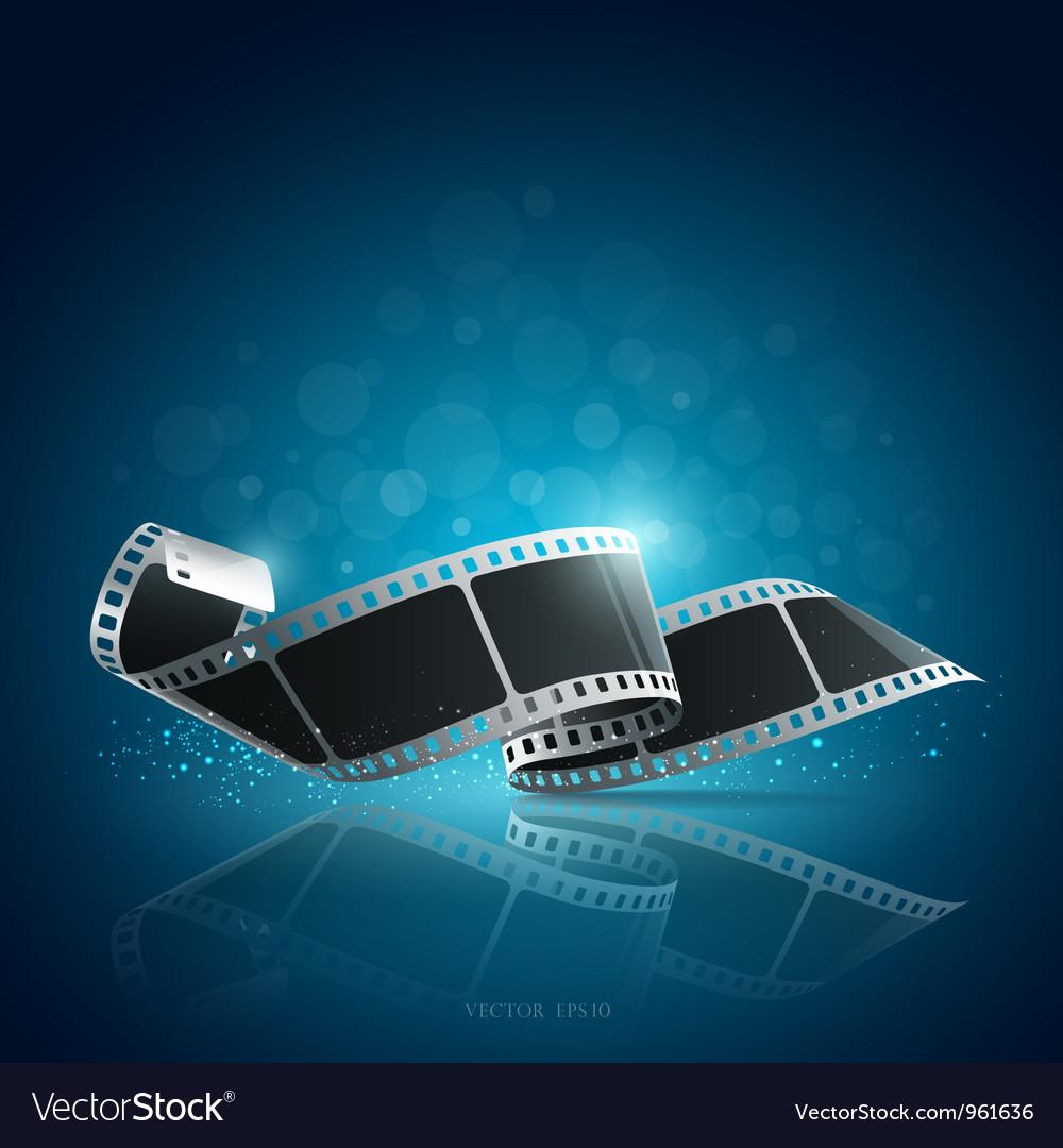 Camera film roll blue background vector