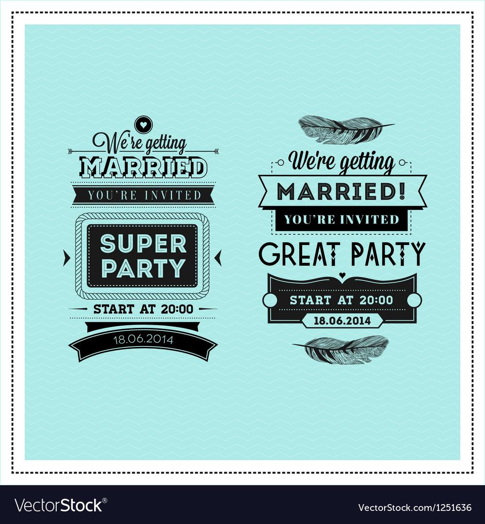 Wedding stamps typography vector