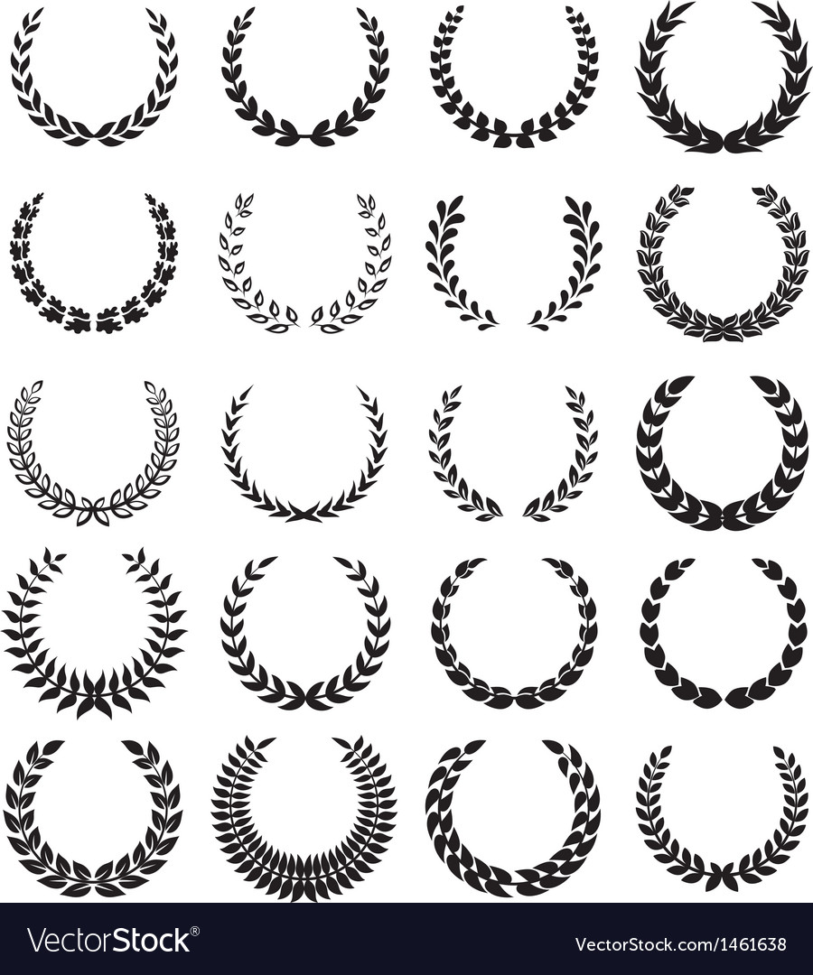 Black laurel wreaths 1 vector