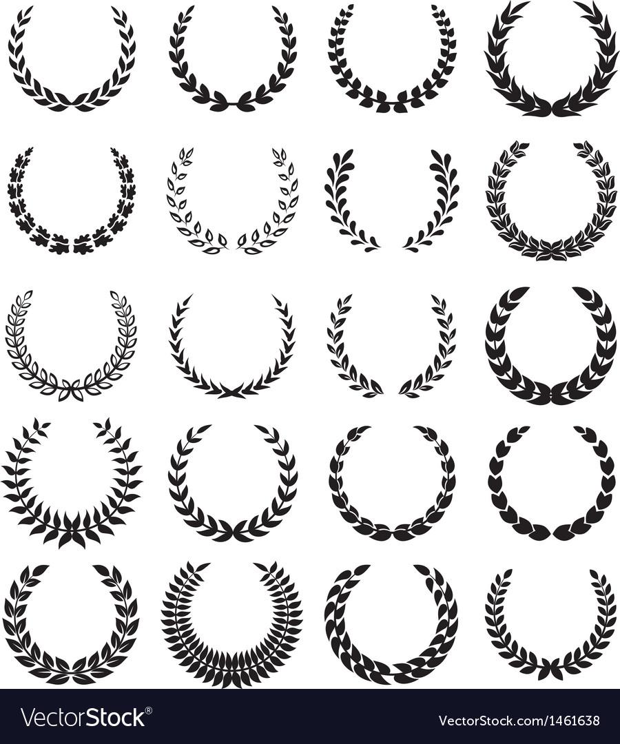 Black laurel wreaths 1 vector