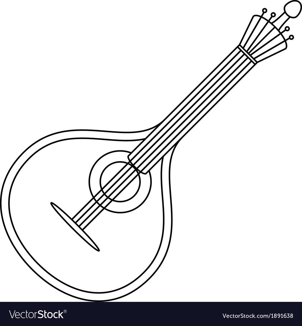 Musical instrument mandolin contour vector