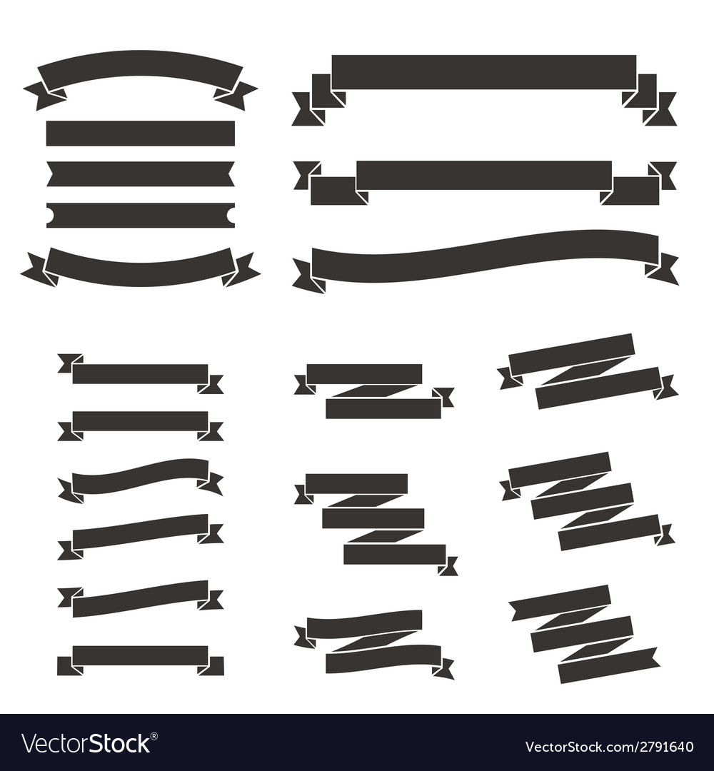 Set of flat vintage ribbons vector