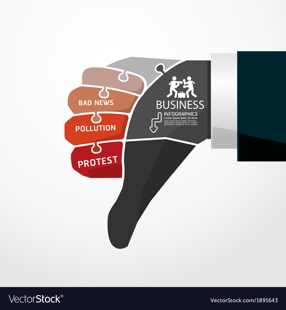 Fingers shape bad news jigsaw banner concept vector