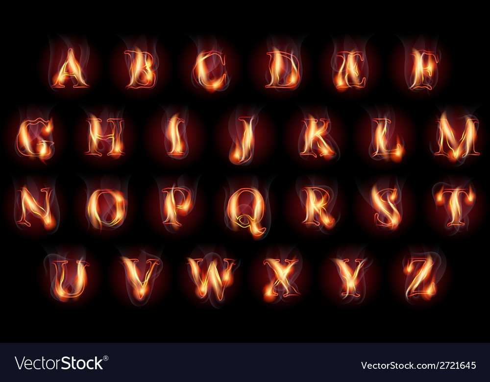 Burning letters set vector