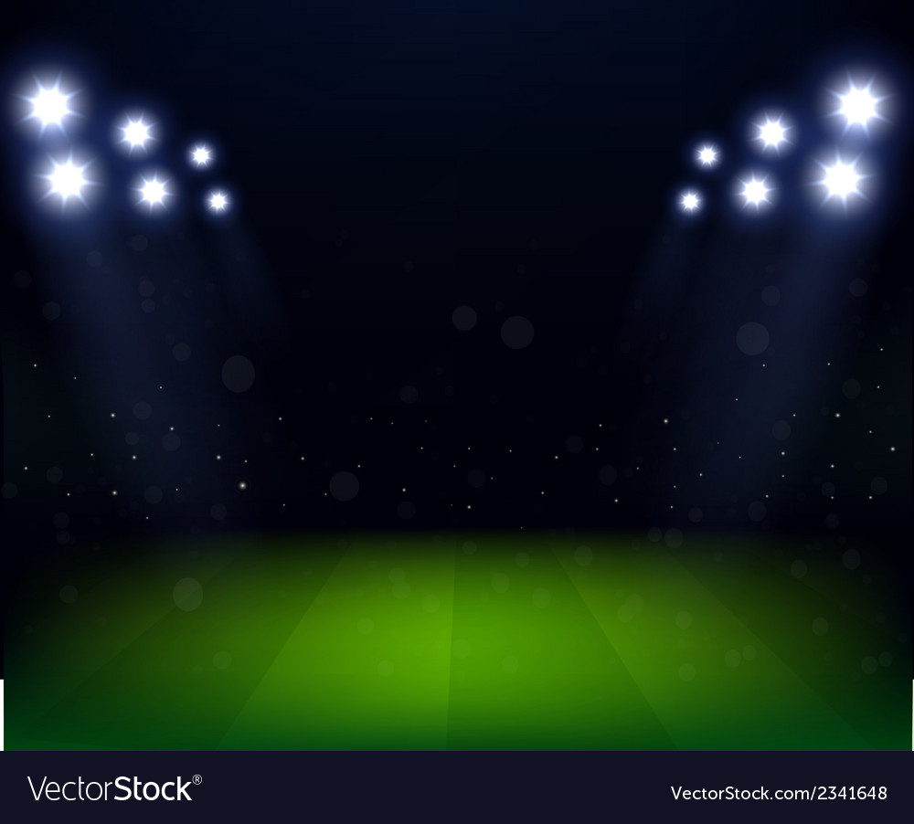 Football stadium at night with spotlight vector