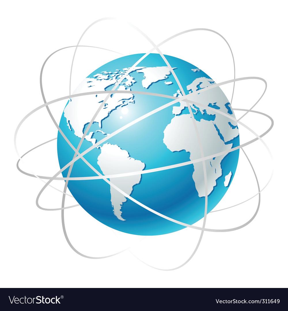Globe with orbits vector