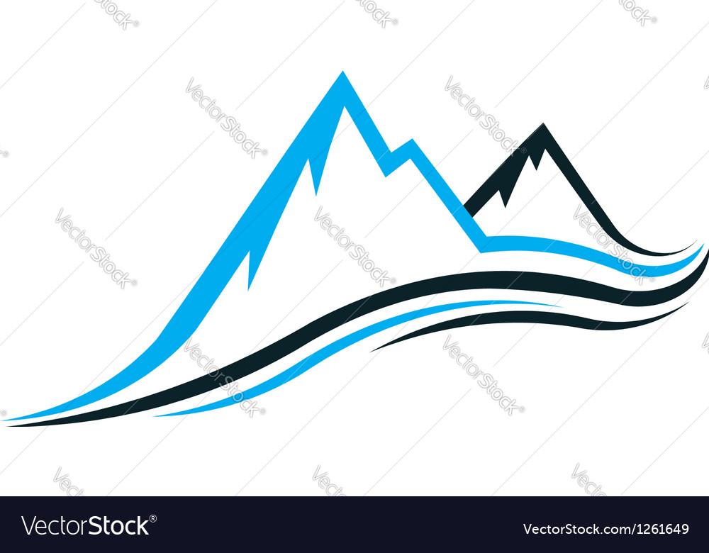 Mountain swoosh logo vector