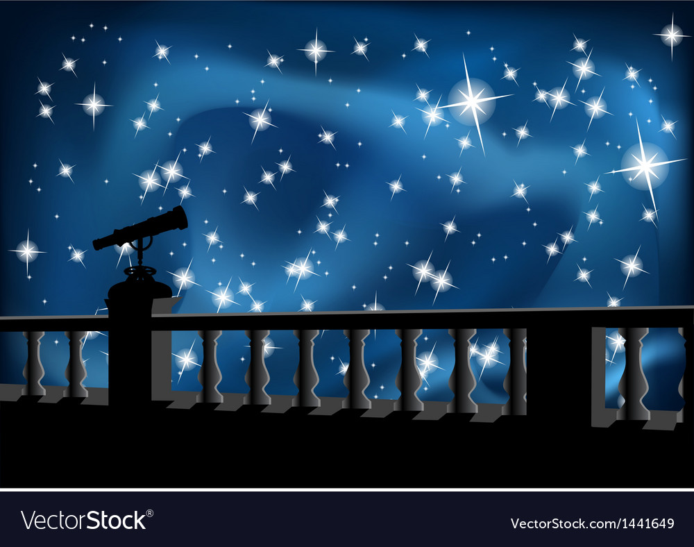 Night sky and telescope vector