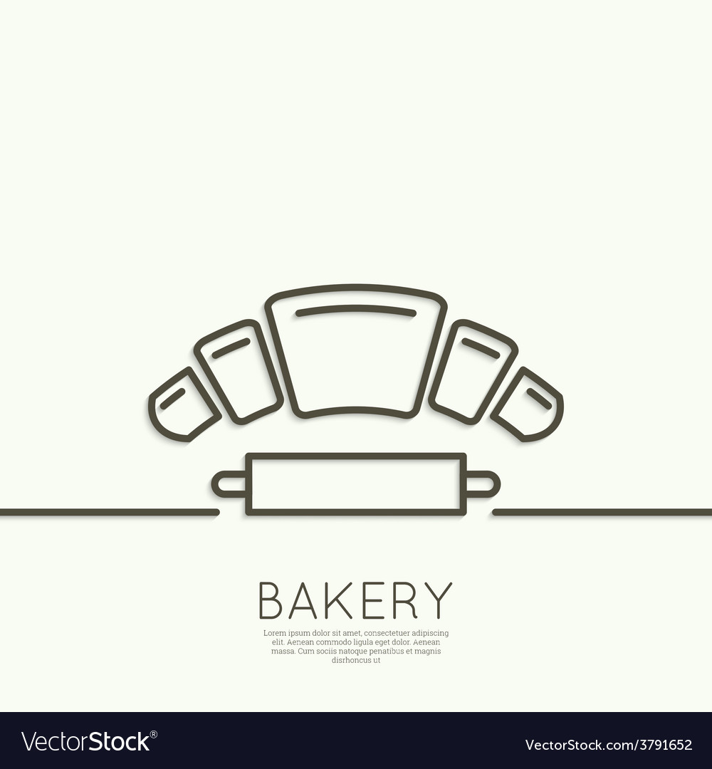 Croissant and rolling pin vector