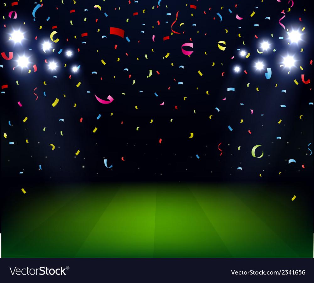 Soccer stadium celebration with confetti on night vector