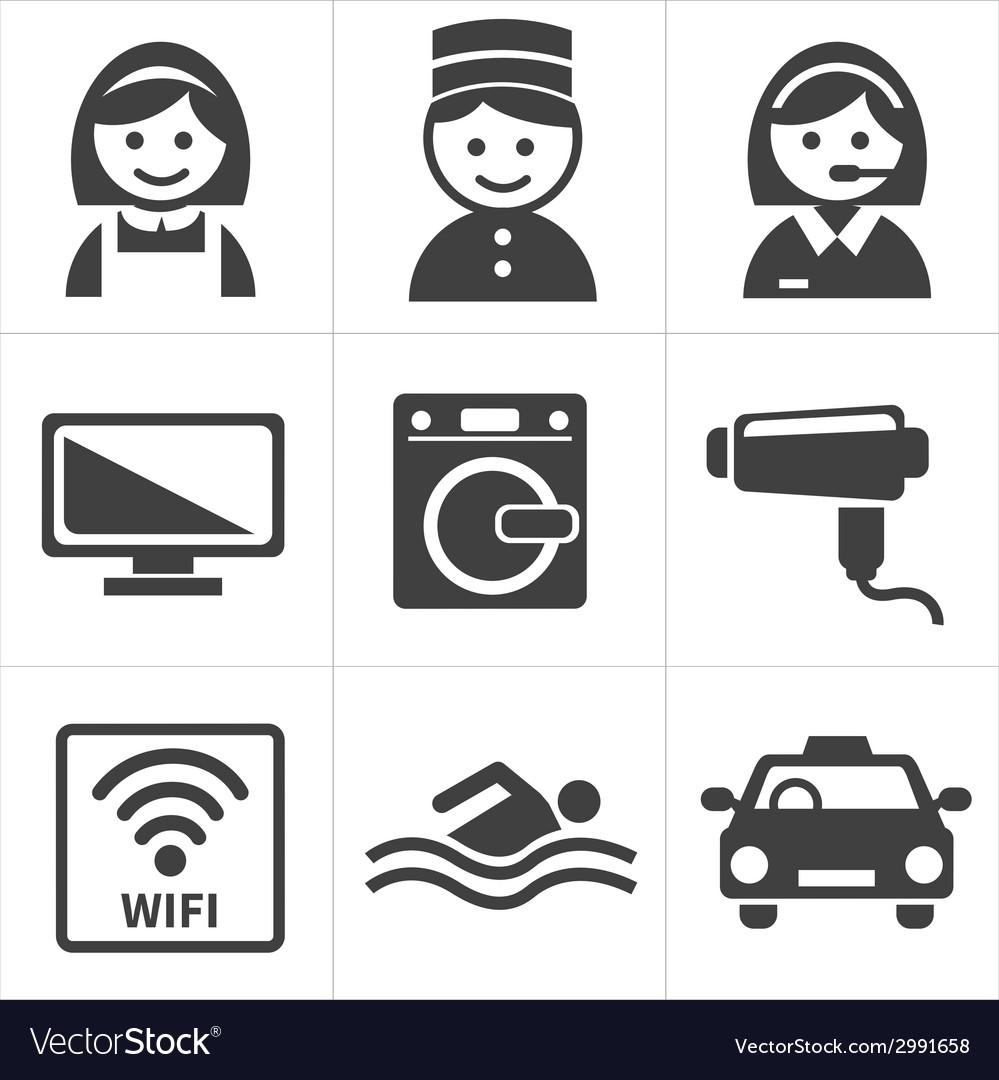 Hotel services icon set vector