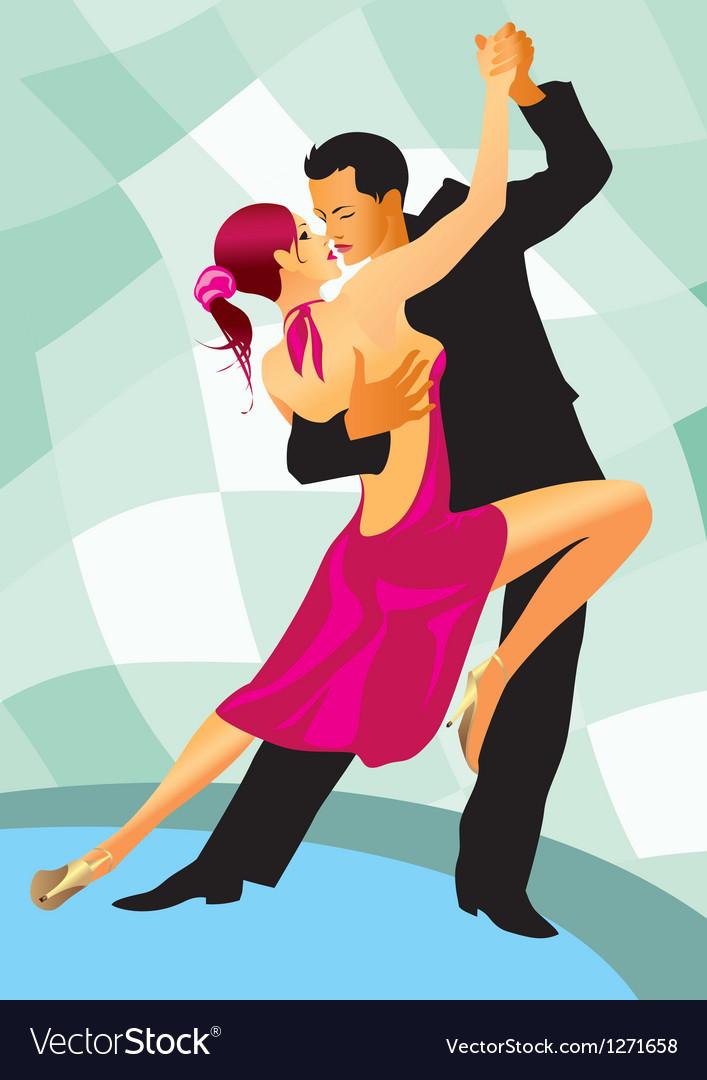 Pair of dancers in ballroom dance vector