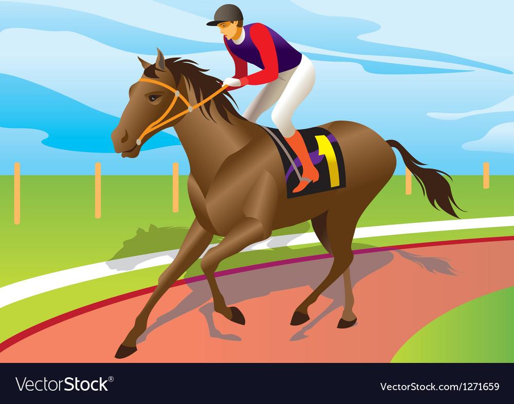 Jockey ride a brown horse vector