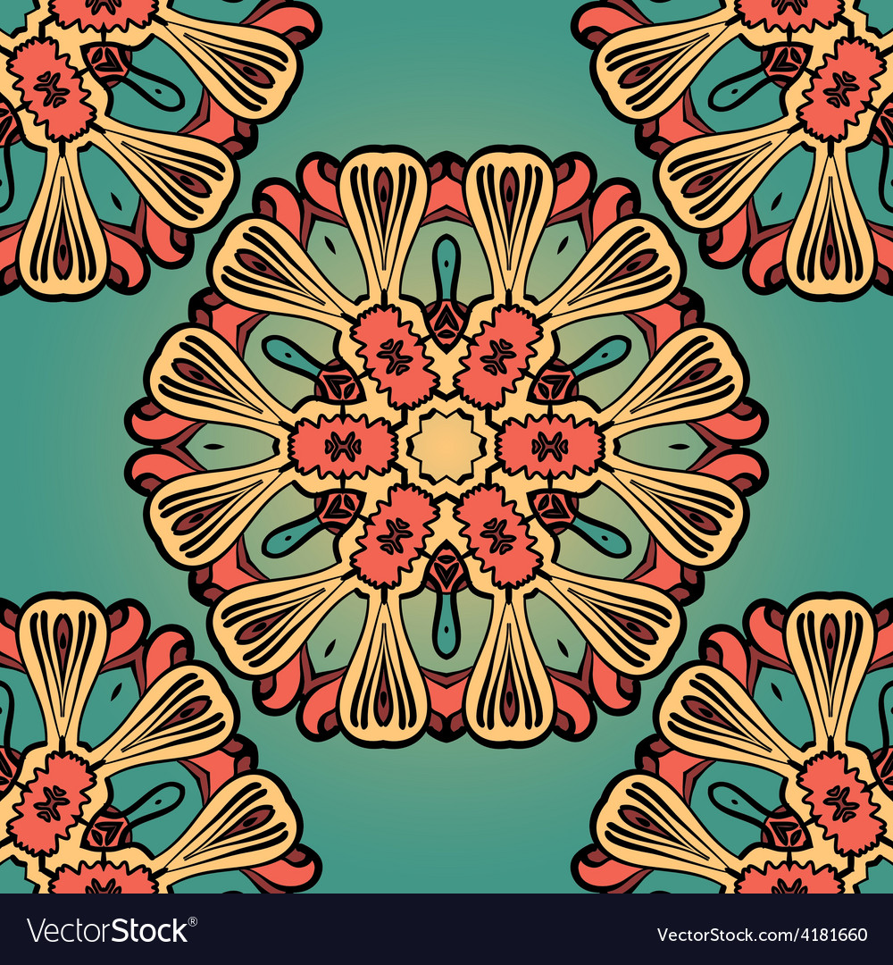 Seanless hand drawn vintage mandala background vector