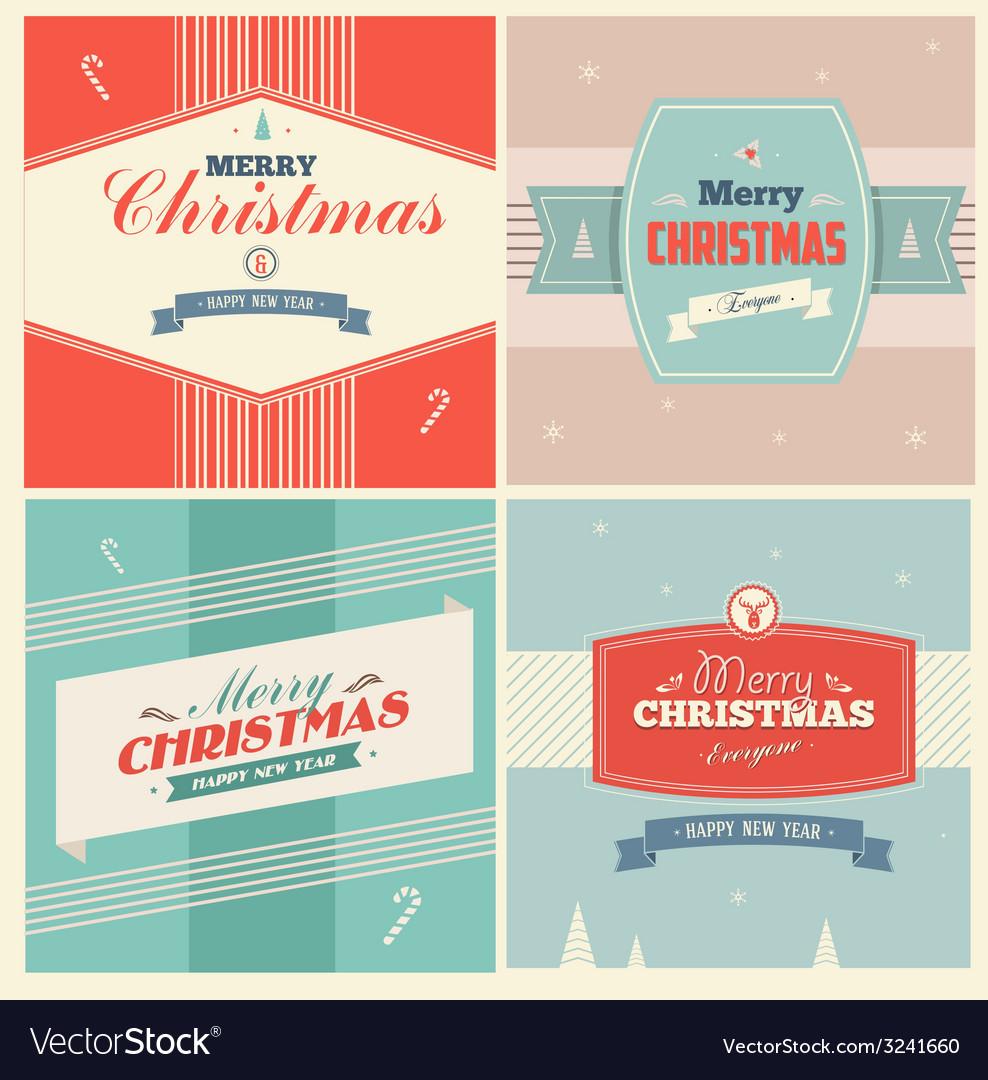 Vintage christmas elements background vector